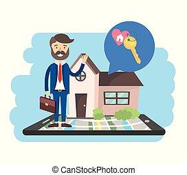 kaart, smartphone, verkoop, zakenman, woning