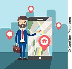 kaart, smartphone, woning, verkoop, plaats, zakenman