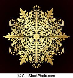 kaart, sneeuwvlok, vector, kerstmis, illustratie
