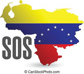 kaart, sos, venezuela, illustratie, ontwerp