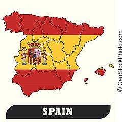 kaart, spaanse vlag
