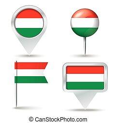 kaart, spelden, met, vlag, van, hongarije
