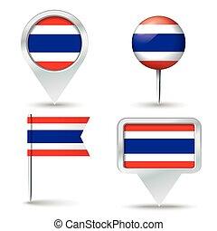 kaart, spelden, met, vlag, van, thailand