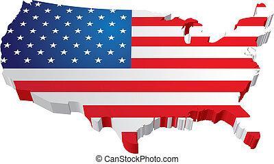 kaart, staatsvlag, usa, 3d