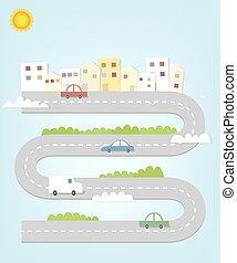 kaart, stad, auto's, huisen, spotprent, straat