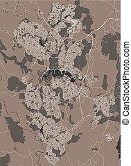 kaart, stad, canberra, australië