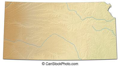kaart, states), (united, kansas, -, verlichting, 3d-rendering