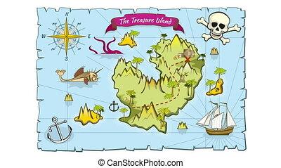 kaart, stijl, eiland, schat, hand, animatie, getrokken