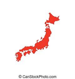 kaart, stijl, plat, pictogram, japan, rood