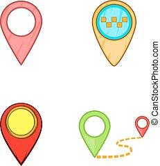 kaart, stijl, spelden, set, spotprent, pictogram