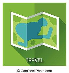 kaart, stijl, toerist, plat, illustratie, creatief