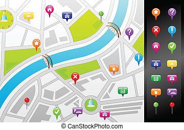 kaart, straat, navigatiesysteem