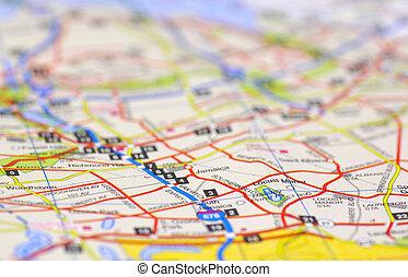 kaart, straat
