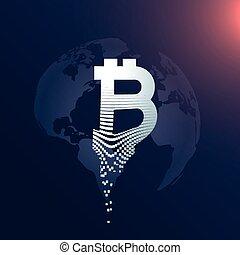 kaart, symbool, bitcoin, creatief, ontwerp, digitale wereld, achtergrond