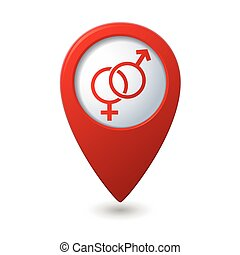 kaart, symbool, mannelijke , wijzer, vrouwlijk