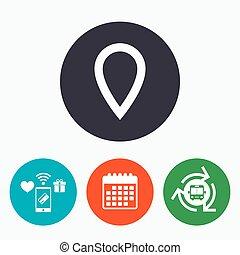 kaart, symbool., meldingsbord, teken, icon., wijzer