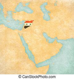 kaart, syrië, -, oosten, middelbare