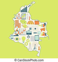 kaart, technologie, colombia's
