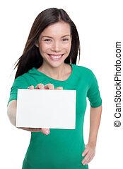 kaart, teken., zakenmens , aziaat, ongedwongen, copyspace, tekst, witte , het tonen, vasthouden, leeg, papier, vrolijke , reclame, meisje, jonge