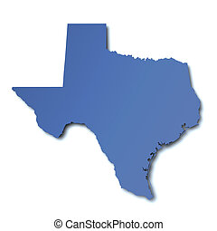 kaart, -, texas, usa