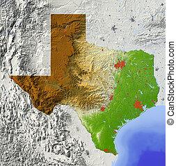 kaart, texas, verlichting, gearceerd