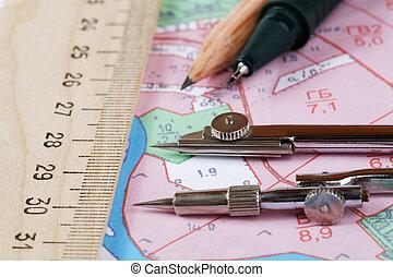 kaart, topografisch, instrument, district, potlood, het meten