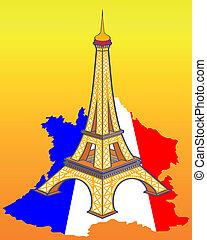 kaart, toren, eiffel, frankrijk