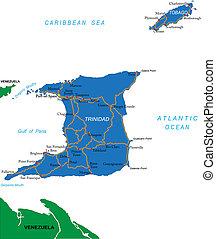 kaart, trinidad, tobago, &
