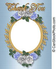 kaart, trouwfeest, danken, frame, u