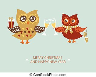 kaart, uilen, paar, kerstmis, mal