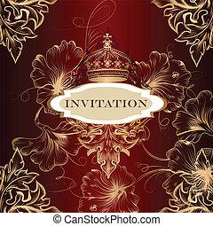 kaart, uitnodiging, kroon, elegant