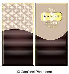 kaart, uitnodiging, mal, trouwfeest, datum, sparen, kaart