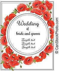 kaart, uitnodiging, trouwfeest