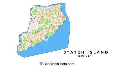kaart, usa, eiland, staten, vector, new york