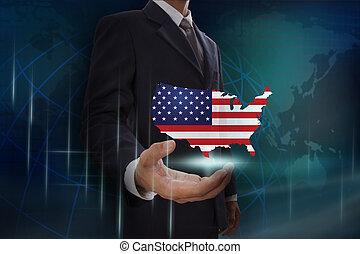 kaart, usa, globe, achtergrond, zakenman, het tonen