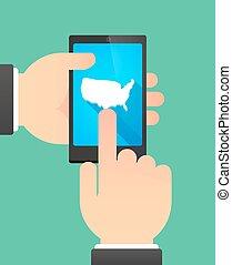 kaart, usa, het tonen, telefoon, handen, gebruik