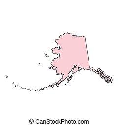 kaart, usa, state., alaska, vrijstaand, achtergrond, witte ,...