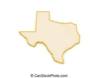 kaart, usa., texas., driedimensionaal