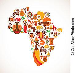 kaart, van, afrika, met, vector, iconen