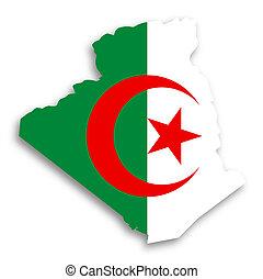 kaart, van, algerije, gevulde, met, vlag