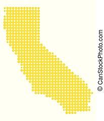 kaart, van, californië