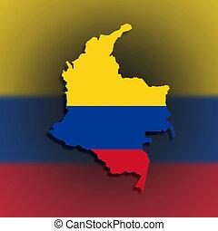 kaart, van, colombia, gevulde, met, vlag