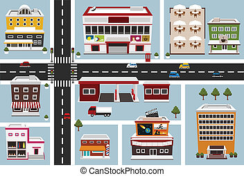 kaart, van, commercieel gebied