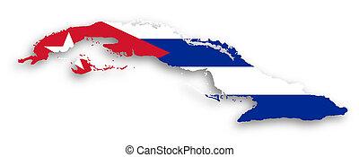 kaart, van, cuba, gevulde, met, vlag