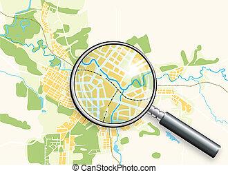 kaart, van, de stad, en, een, loupe