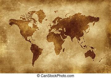 kaart, van, de wereld