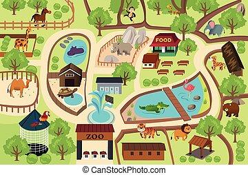 kaart, van, een, dierentuin, park