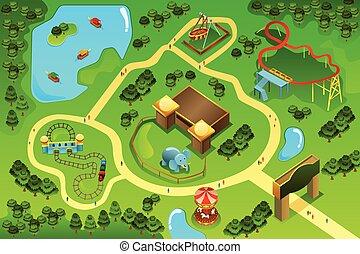 kaart, van, een, vermaak, themapark