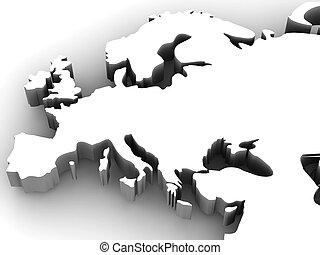 kaart, van, europe., 3d