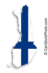kaart, van, finland, gevulde, met, vlag